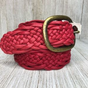 AEO Red Cotton Braided Distressed Buckle Belt